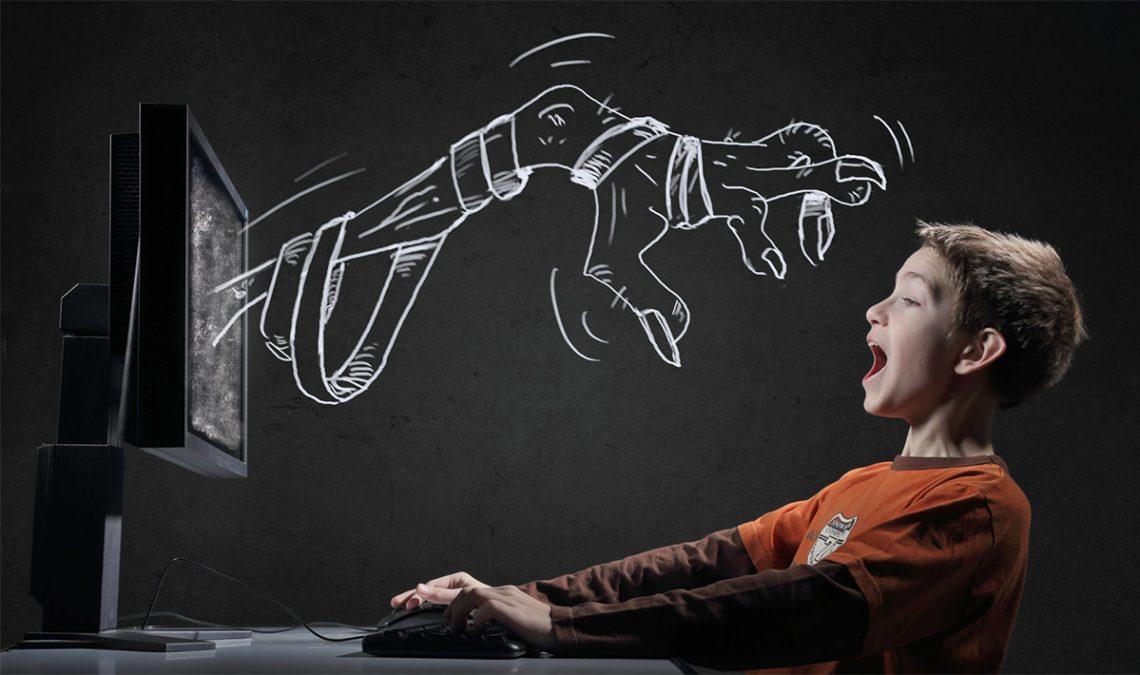 Obrazek dekoracyjny przedstawiający dziecko i cyfrowe strachy