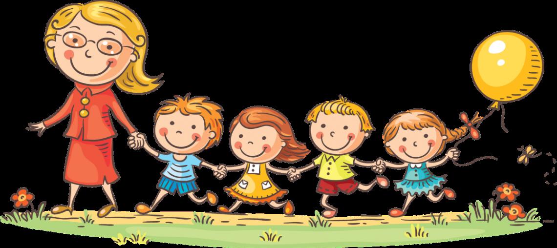 Obrazek dekoracyjny na którym dzieci idą do przedszkola