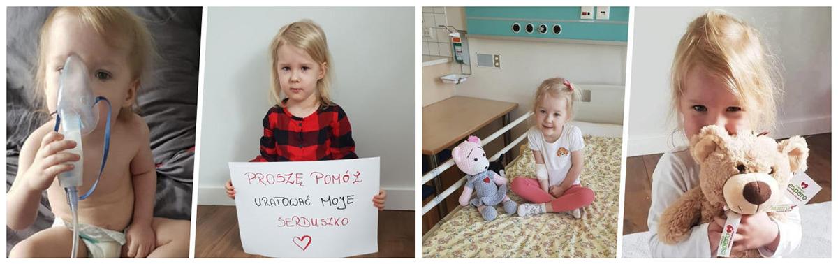 Zdjęcie przedstawia małą Oleńkę, która pilnie potrzebuje operacji serca